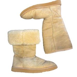 UGG Boots Size 7 Beige Tall Can be Folded Over